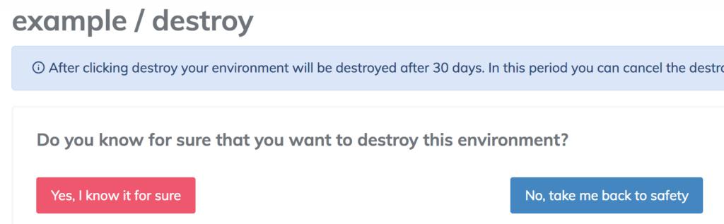 destroy environment