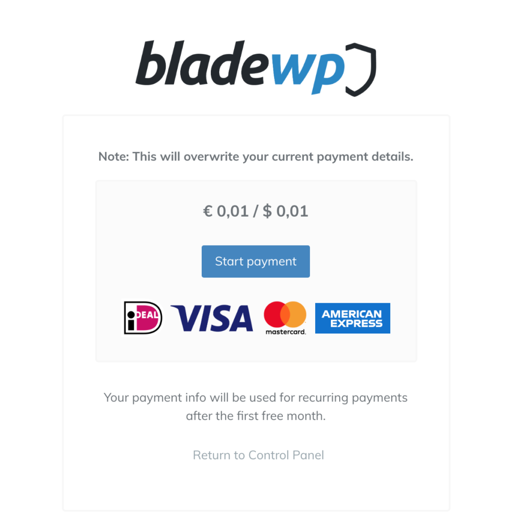 BladeWP Payment Screen